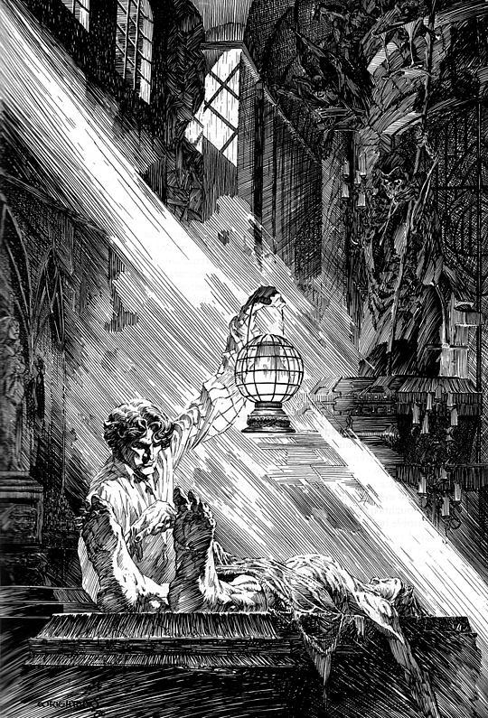 Frankenstein pen and ink illustration by Bernie Wrightson. Victor Frankenstein seeks parts for his creation in a tomb.
