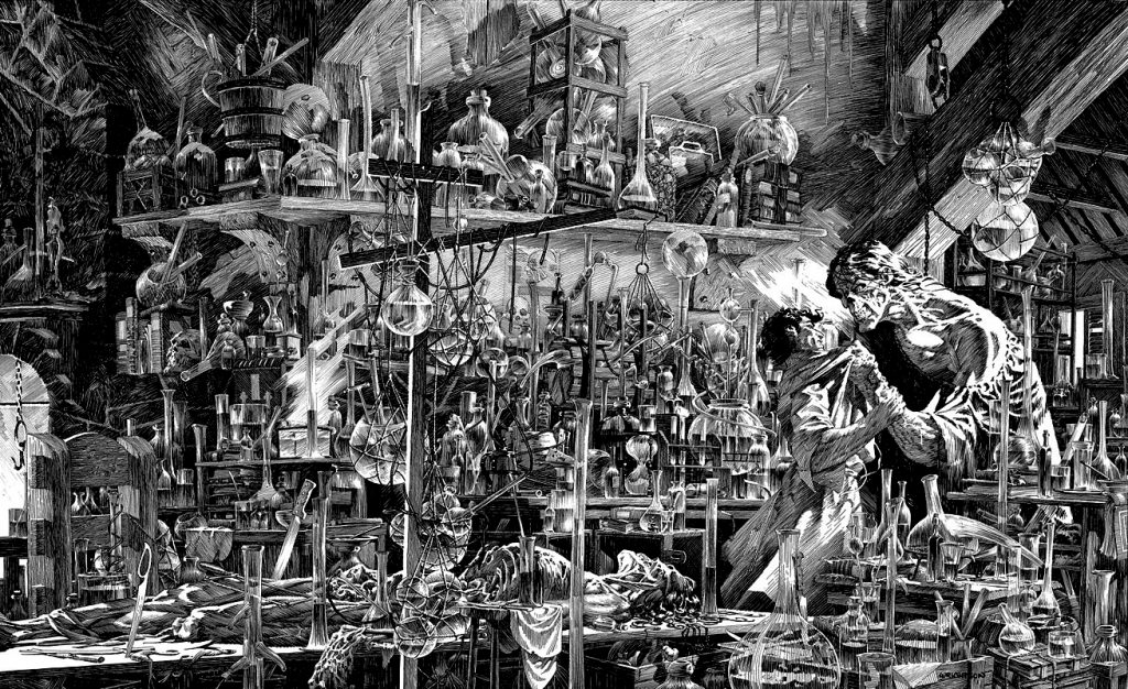 Pen and ink drawing by Bernie Wrightson depicting Frankenstein and his creation in the lab